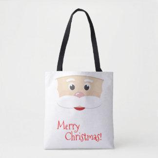 Joyeux Noël Père Noël avec des flocons de neige Tote Bag