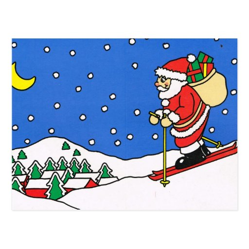 Joyeux no l p re no l de ski carte postale zazzle - Pere noel ski ...