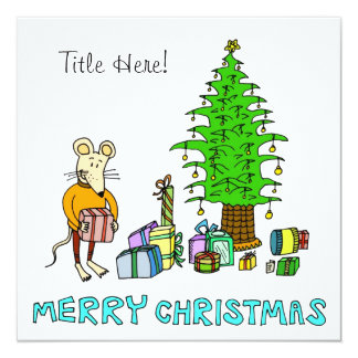 Joyeux Noël - présents d'ouverture de souris Carton D'invitation 13,33 Cm