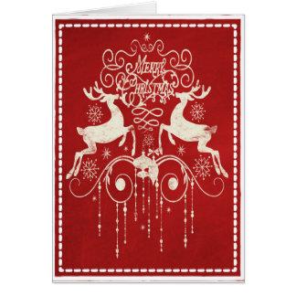 Joyeux Noël - rouge et blanc de cerfs communs Carte De Vœux