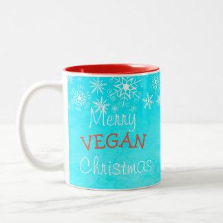 Joyeux Noël végétalien, tasse bleue pour le