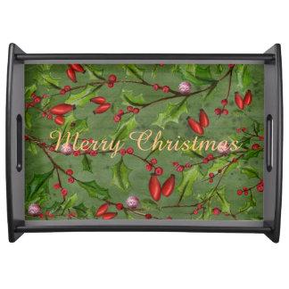 Joyeux Noël - vert - grand plateau de portion,