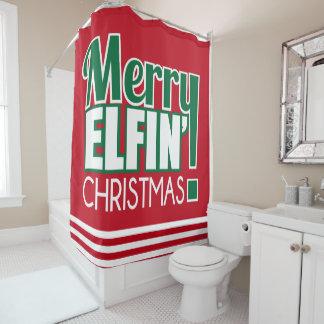Joyeux rideau en douche drôle de Noël d'Elfin