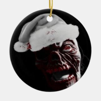 Joyeux zombi sanglant Père Noël de Halloween Ornement Rond En Céramique