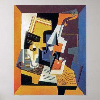 Juan Gris - violon et verre Affiches