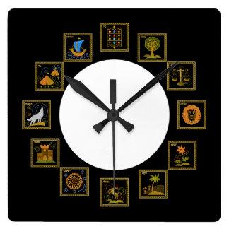 Judaica 12 tribus d'horloge de l'Israël Horloge Carrée