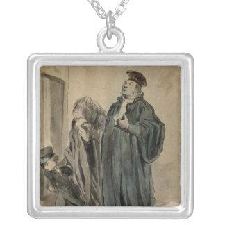 Juge, femme et enfant pendentif carré