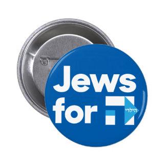 Juifs pour le bouton bleu hébreu de H Hillary Badge
