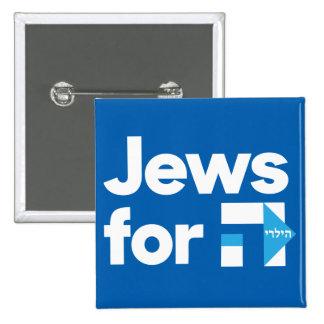 Juifs pour le bouton carré de Hillary Pin's