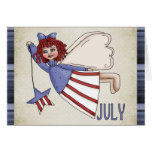 Juillet ange carte de voeux du 4 juillet /Birthday