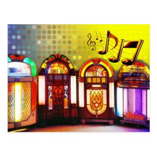 Jukes-box colorés carte postale