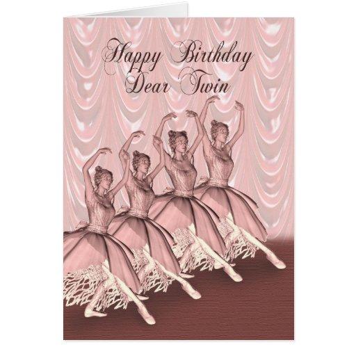 Jumeau, une carte d'anniversaire de ballerine