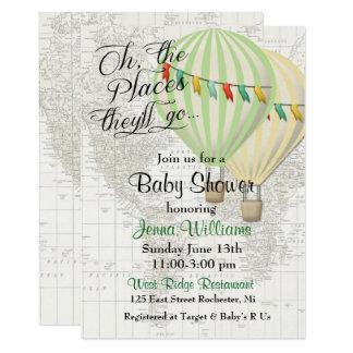 Jumeaux chauds de ballon à air de baby shower carton d'invitation  12,7 cm x 17,78 cm
