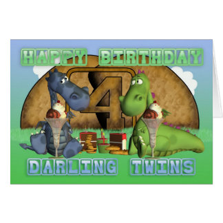 Jumeaux chéris de joyeux anniversaire, paires de cartes de vœux