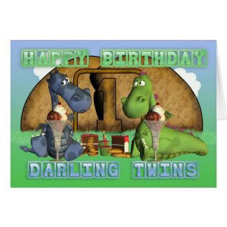 Jumeaux chéris de joyeux anniversaire, paires de carte de vœux