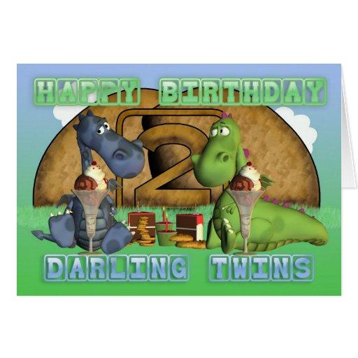 Jumeaux chéris de joyeux anniversaire, paires de d carte de vœux