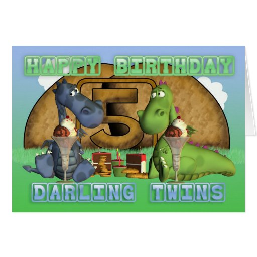 Jumeaux chéris de joyeux anniversaire, paires de d cartes