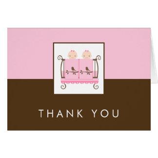 Jumeaux dans des cartes de Merci de baby shower de