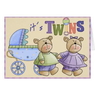 Jumeaux de bébé carte de vœux