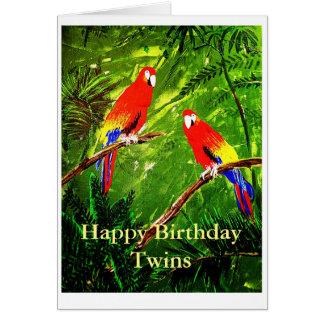 Jumeaux de joyeux anniversaire carte de vœux