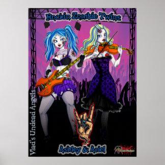 Jumeaux de zombi de Rockin sur l affiche d étape