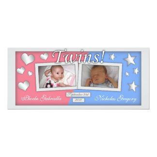 Jumeaux fille et annonces de naissance de garçon carton d'invitation  10,16 cm x 23,49 cm