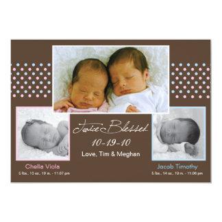Jumeaux garçon et faire-part de naissance de fille carton d'invitation  12,7 cm x 17,78 cm