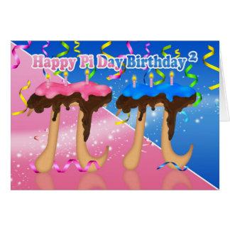 Jumeaux gâteau d'anniversaire pi jour 3,14 carte d
