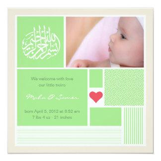 Jumeaux islamiques d'invitation de faire-part carton d'invitation  13,33 cm