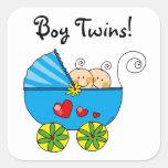 Jumeaux mignons de bébé sticker carré