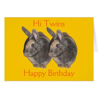 Jumeaux photo de lapin carte d anniversaire