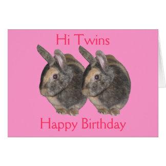 Jumeaux, photo de lapin, carte d'anniversaire