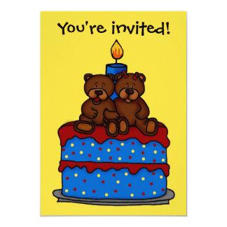 jumelles de garçon-fille à l'invitation de fête carton d'invitation  12,7 cm x 17,78 cm