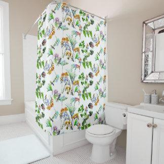 Jungle d'aquarelle et couverture de couette des rideaux de douche