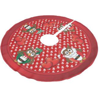 Jupon De Sapin En Polyester Brossé Amusement de Noël de hibou