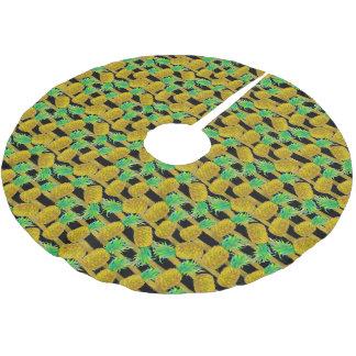 Jupon De Sapin En Polyester Brossé Ananas d'or sur des rayures