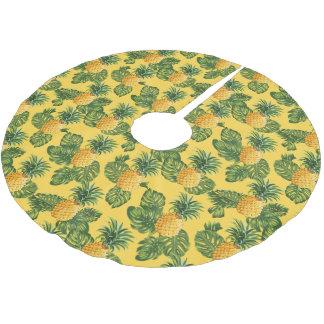 Jupon De Sapin En Polyester Brossé Ananas et feuille tropical sur l'or