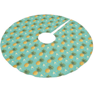 Jupon De Sapin En Polyester Brossé Ananas lumineux sur le motif géométrique