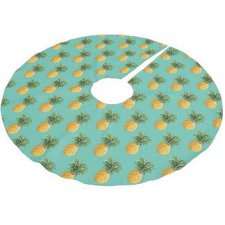 Jupon De Sapin En Polyester Brossé Ananas tropicaux sur Teal