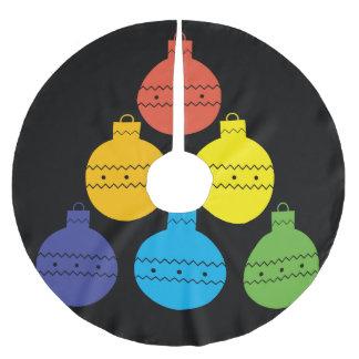 Jupon De Sapin En Polyester Brossé Arbre d'arc-en-ciel de jupe d'arbre de boules de