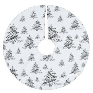 Jupon De Sapin En Polyester Brossé Arbres de Noël noirs et vacances blanches