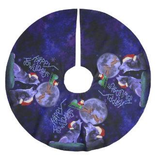 Jupon De Sapin En Polyester Brossé Calembour heureux de loup de Howlidays de Noël