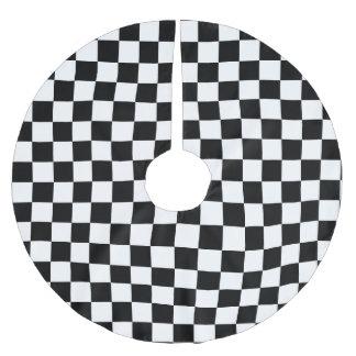 Jupon De Sapin En Polyester Brossé Checkered noir et blanc - jupe d'arbre de Noël