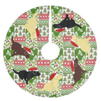 Jupon De Sapin En Polyester Brossé Chiots verts de Labrador d'édredon de Noël