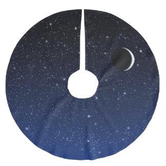 Jupon De Sapin En Polyester Brossé Ciel étoilé et croissant de lune, bleu de minuit