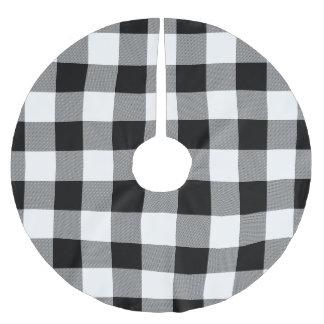 Jupon De Sapin En Polyester Brossé Contrôle de Buffalo blanc et noir - jupe d'arbre