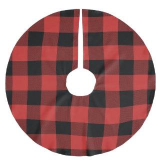 Jupon De Sapin En Polyester Brossé Contrôle de Buffalo rouge et noir - jupe d'arbre