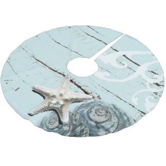 Jupon De Sapin En Polyester Brossé Coquillage en bois d'étoiles de mer de plage bleue