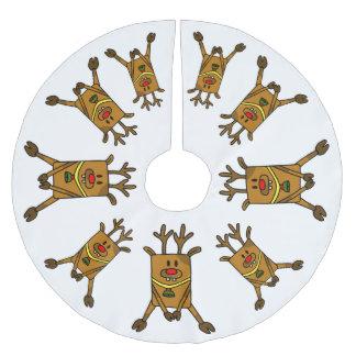 Jupon De Sapin En Polyester Brossé Dessin drôle de renne sur le blanc