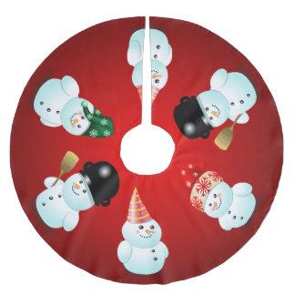 Jupon De Sapin En Polyester Brossé Famille mignonne des bonhommes de neige